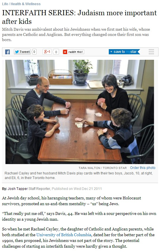 INTERFAITH SERIES Judaism more important after kids Toronto Star